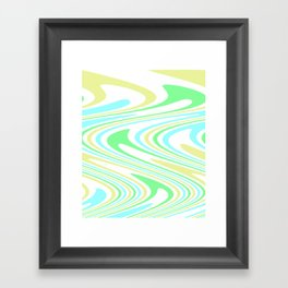 Blue, Yellow, and Green Waves Framed Art Print