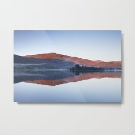 Mist and calm mountain reflections at sunrise. Grasmere, Lake District, UK Metal Print