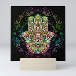 Hamsa Hand Amulet Psychedelic Mini Art Print