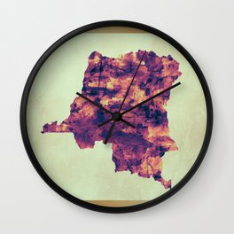 DR Congo Map with Flag Wall Clock