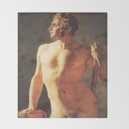 A Male Torso by Jean-Auguste-Dominique Ingres Throw Blanket