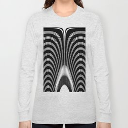 Geometric Black and White Abstract Skeletal Pattern Long Sleeve T-shirt