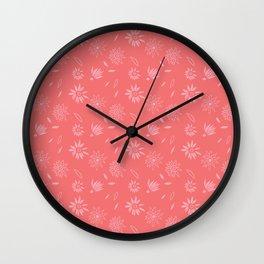 Coral Pink Flora Pattern 2 Wall Clock