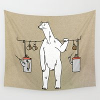 polar bear Wall Tapestries featuring Polar bear by Madmi