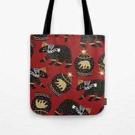 Funky Black Bear Gold White Winter Pattern Tote Bag