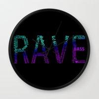 rave Wall Clocks featuring Rave  by Illuminany