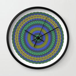 Blue, Gold & Green Mandala Wall Clock