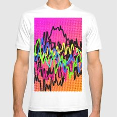 waves - ! White MEDIUM Mens Fitted Tee