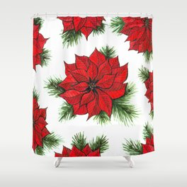 Poinsettia and fir branches pattern Shower Curtain