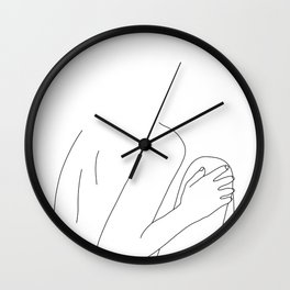 Nude figure line drawing illustration - Dustee Wall Clock