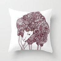 sheep Throw Pillows featuring Sheep by Monique Turchan