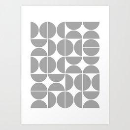 Mid Century Modern Geometric 04 Grey Art Print