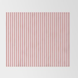Mattress Ticking Narrow Striped Pattern in Red and White Throw Blanket