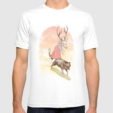 wolf and dear MEDIUM White Mens Fitted Tee