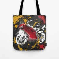 ducati Tote Bags featuring Ducati 1098 2008 by Larsson Stevensem