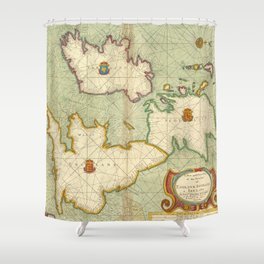 Vintage Map of The British Isles (1707) Shower Curtain
