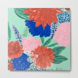 Stylish Flowers Bouquet Hand Paint Mint Design Metal Print