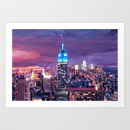 Empire State Building Feeling Like A Blue Giant Art Print