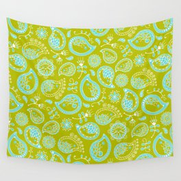 Hedgehog Pasley_Blue-Green Wall Tapestry