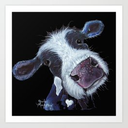NOSEY FRIESIAN COW 'BERTHA BEETROOT' BY SHIRLEY MACARTHUR Art Print