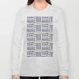 Modern hand painted navy blue gold aztec geometrical Long Sleeve T-shirt