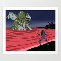 neon genesis evangelion Art Prints featuring Neon Genesis Elder God: End of EVA by CaptainSunshine