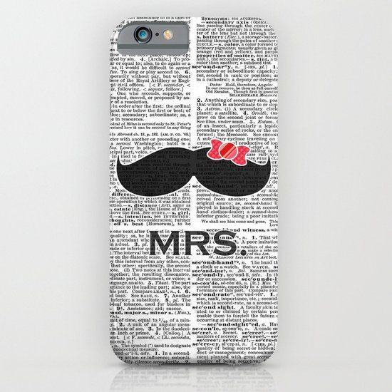 """Mrs. Mustache"" Dictionary Page – Original Digital Art Print iPhone & iPod Case"