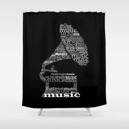 Invert gramophone Shower Curtain
