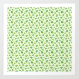Happy St. Patrick's Day Shamrock Pattern on light green Art Print