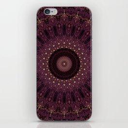 Mandala in dark purple and golden colors iPhone Skin