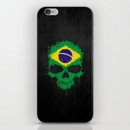 Flag of Brazil on a Chaotic Splatter Skull iPhone Skin