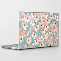 bedding Laptop & iPad Skins featuring Shabby Chic Hibiscus Patchwork Pattern in Peach & Mint by micklyn