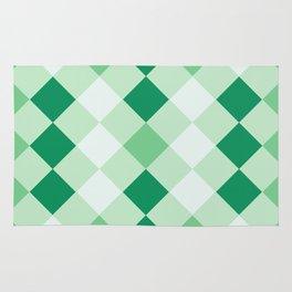 Shamrock Green Diagonal Plaid Pattern Rug