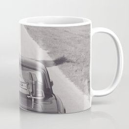Triumph spitfire on a gravelly road in southern Italy, english sports car, fine art photography Coffee Mug