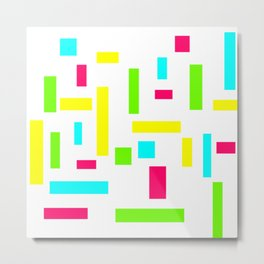 Abstract Theo van Doesburg Composition Neon on White Metal Print