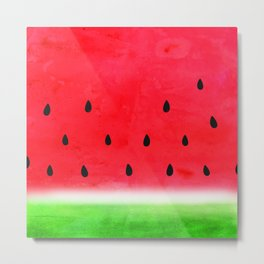 summer watercolor watermelon Metal Print