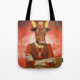 Flamenco-dancing red cow Tote Bag