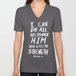 Philippians 4: 13 x Navy Unisex V-Neck