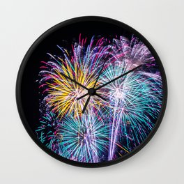 Pastel Fireworks 4th of July photograph Wall Clock