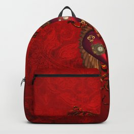 Wondeful heart with clocks and gears on red vintage background Backpack