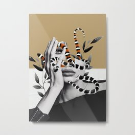 Woman and snakes Metal Print
