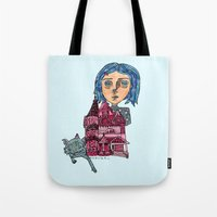 coraline Tote Bags featuring Coraline and Kitty by Kassia M. K.