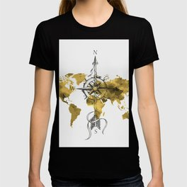 Gold World Map 2 T-shirt