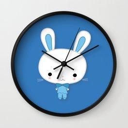 Cute Blue Kawaii Bunny Wall Clock