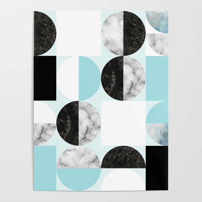 Mid Modern Moon and Sun Geometric Pattern - blue Poster