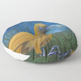 Yellow Bird with Coin Floor Pillow