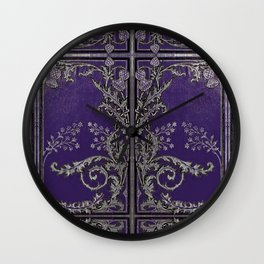 Blue and Silver Thistles Wall Clock