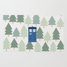 TARDIS lands in the Pacific Northwest Pine Tree Forest - Oregon, Washington, Portland, PDX, Seattle Rug