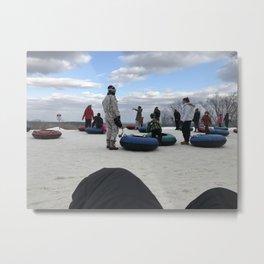Snow Tubing Metal Print