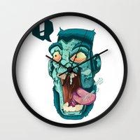 zombie Wall Clocks featuring Zombie. by Rachel Alderson